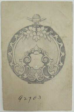 Frederick John Beck (American, 1864-1917). <em>Watch-case Design</em>. Graphite on paper, 3 15/16 x 2 1/2 in. (10 x 6.4 cm). Brooklyn Museum, Gift of Herbert F. Beck and Frederick Lorenze Beck, 26.515.67. Creative Commons-BY (Photo: Brooklyn Museum, CUR.26.515.67.jpg)
