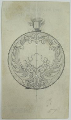 Frederick John Beck (American, 1864-1917). <em>Watch-case Design</em>. Graphite and ink on paper, 4 1/16 x 2 3/8 in. (10.3 x 6 cm). Brooklyn Museum, Gift of Herbert F. Beck and Frederick Lorenze Beck, 26.515.68. Creative Commons-BY (Photo: Brooklyn Museum, CUR.26.515.68.jpg)