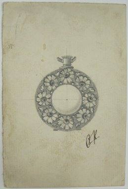Frederick John Beck (American, 1864-1917). <em>Watch-case Design</em>. Graphite on paper, 4 3/8 x 2 15/16 in. (11.1 x 7.5 cm). Brooklyn Museum, Gift of Herbert F. Beck and Frederick Lorenze Beck, 26.515.69. Creative Commons-BY (Photo: Brooklyn Museum, CUR.26.515.69.jpg)