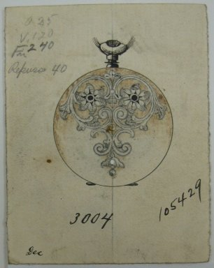 Frederick John Beck (American, 1864-1917). <em>Watch-case Design</em>. Graphite, ink and watercolor on paper, 2 7/8 x 2 1/4 in. (7.3 x 5.7 cm). Brooklyn Museum, Gift of Herbert F. Beck and Frederick Lorenze Beck, 26.515.7. Creative Commons-BY (Photo: Brooklyn Museum, CUR.26.515.7.jpg)