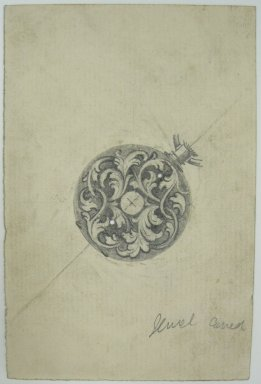 Frederick John Beck (American, 1864-1917). <em>Watch-case Design</em>. Graphite on paper, 4 7/16 x 2 15/16 in. (11.3 x 7.5 cm). Brooklyn Museum, Gift of Herbert F. Beck and Frederick Lorenze Beck, 26.515.71. Creative Commons-BY (Photo: Brooklyn Museum, CUR.26.515.71.jpg)