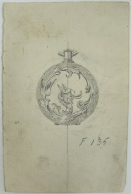 Frederick John Beck (American, 1864-1917). <em>Watch-case Design</em>. Graphite on paper, 4 7/16 x 2 15/16 in. (11.3 x 7.5 cm). Brooklyn Museum, Gift of Herbert F. Beck and Frederick Lorenze Beck, 26.515.73. Creative Commons-BY (Photo: Brooklyn Museum, CUR.26.515.73.jpg)
