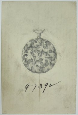 Frederick John Beck (American, 1864-1917). <em>Watch-case Design</em>. Graphite on paper, 4 7/16 x 2 7/8 in. (11.3 x 7.3 cm). Brooklyn Museum, Gift of Herbert F. Beck and Frederick Lorenze Beck, 26.515.75. Creative Commons-BY (Photo: Brooklyn Museum, CUR.26.515.75.jpg)