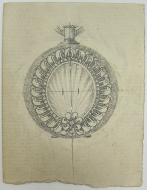 Frederick John Beck (American, 1864-1917). <em>Watch-case Design</em>. Graphite on paper, 2 15/16 x 2 1/4 in. (7.5 x 5.7 cm). Brooklyn Museum, Gift of Herbert F. Beck and Frederick Lorenze Beck, 26.515.77. Creative Commons-BY (Photo: Brooklyn Museum, CUR.26.515.77.jpg)
