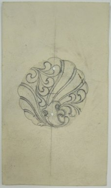 Frederick John Beck (American, 1864-1917). <em>Watch-case Design</em>. Graphite on paper, 3 11/16 x 2 1/8 in. (9.4 x 5.4 cm). Brooklyn Museum, Gift of Herbert F. Beck and Frederick Lorenze Beck, 26.515.83. Creative Commons-BY (Photo: Brooklyn Museum, CUR.26.515.83.jpg)