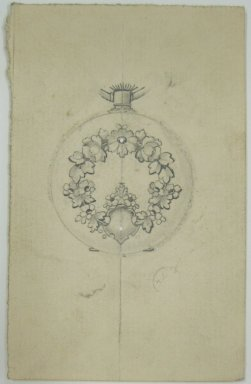 Frederick John Beck (American, 1864-1917). <em>Watch-case Design</em>. Graphite on paper, 4 x 2 9/16 in. (10.2 x 6.5 cm). Brooklyn Museum, Gift of Herbert F. Beck and Frederick Lorenze Beck, 26.515.85. Creative Commons-BY (Photo: Brooklyn Museum, CUR.26.515.85.jpg)