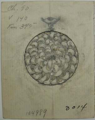 Frederick John Beck (American, 1864-1917). <em>Watch-case Design</em>. Graphite, ink and watercolor on paper, 2 7/8 x 2 1/4 in. (7.3 x 5.7 cm). Brooklyn Museum, Gift of Herbert F. Beck and Frederick Lorenze Beck, 26.515.9. Creative Commons-BY (Photo: Brooklyn Museum, CUR.26.515.9.jpg)