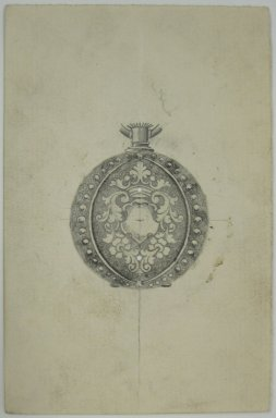 Frederick John Beck (American, 1864-1917). <em>Watch-case Design</em>. Graphite and ink on paper, 4 7/16 x 2 7/8 in. (11.3 x 7.3 cm). Brooklyn Museum, Gift of Herbert F. Beck and Frederick Lorenze Beck, 26.515.90. Creative Commons-BY (Photo: Brooklyn Museum, CUR.26.515.90.jpg)