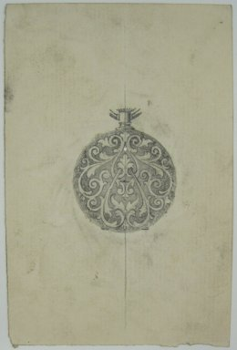 Frederick John Beck (American, 1864-1917). <em>Watch-case Design</em>. Graphite on paper, 4 7/16 x 2 15/16 in. (11.3 x 7.5 cm). Brooklyn Museum, Gift of Herbert F. Beck and Frederick Lorenze Beck, 26.515.91. Creative Commons-BY (Photo: Brooklyn Museum, CUR.26.515.91.jpg)