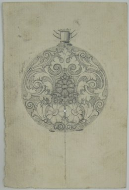 Frederick John Beck (American, 1864-1917). <em>Watch-case Design</em>. Graphite on paper, 4 7/16 x 2 15/16 in. (11.3 x 7.5 cm). Brooklyn Museum, Gift of Herbert F. Beck and Frederick Lorenze Beck, 26.515.92. Creative Commons-BY (Photo: Brooklyn Museum, CUR.26.515.92.jpg)