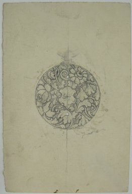 Frederick John Beck (American, 1864-1917). <em>Watch-case Design</em>. Graphite on paper, 4 3/8 x 2 15/16 in. (11.1 x 7.5 cm). Brooklyn Museum, Gift of Herbert F. Beck and Frederick Lorenze Beck, 26.515.94. Creative Commons-BY (Photo: Brooklyn Museum, CUR.26.515.94.jpg)