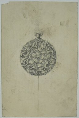 Frederick John Beck (American, 1864-1917). <em>Watch-case Design</em>. Graphite and ink on paper, 4 7/16 x 2 15/16 in. (11.3 x 7.5 cm). Brooklyn Museum, Gift of Herbert F. Beck and Frederick Lorenze Beck, 26.515.95. Creative Commons-BY (Photo: Brooklyn Museum, CUR.26.515.95.jpg)