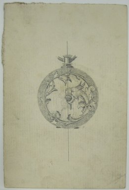 Frederick John Beck (American, 1864-1917). <em>Watch-case Design</em>. Graphite on paper, 4 7/16 x 3 in. (11.3 x 7.6 cm). Brooklyn Museum, Gift of Herbert F. Beck and Frederick Lorenze Beck, 26.515.99. Creative Commons-BY (Photo: Brooklyn Museum, CUR.26.515.99.jpg)
