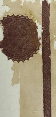 Coptic. <em>Fragment with Roundel and Band</em>, 4th-5th century C.E. Flax, wool, 30 x 18 1/2 in. (76.2 x 47 cm). Brooklyn Museum, Gift of the Long Island Historical Society, 26.732. Creative Commons-BY (Photo: Brooklyn Museum (in collaboration with Index of Christian Art, Princeton University), CUR.26.732_ICA.jpg)