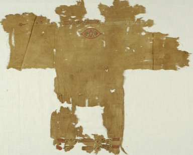 Coptic. <em>Fragmentary Child's Tunic</em>, 6th-7th century C.E. Flax, wool, 29 1/2 x 25 3/4 in. (74.9 x 65.4 cm). Brooklyn Museum, Gift of the Long Island Historical Society, 26.734. Creative Commons-BY (Photo: Brooklyn Museum (in collaboration with Index of Christian Art, Princeton University), CUR.26.734_ICA.jpg)