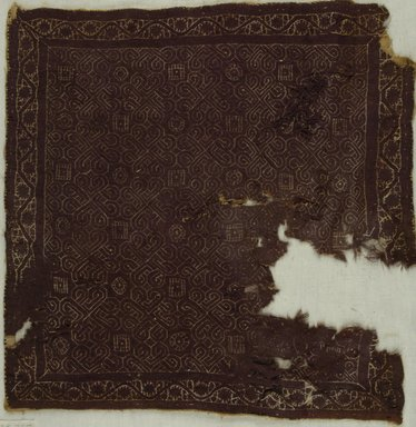 Coptic. <em>Square Fragment with Botanical and Geometric Decoration</em>, 4th-5th century C.E. Flax (?), wool, 15 1/2 x 15 3/4 in. (39.4 x 40 cm). Brooklyn Museum, Gift of the Long Island Historical Society, 26.735. Creative Commons-BY (Photo: Brooklyn Museum (in collaboration with Index of Christian Art, Princeton University), CUR.26.735_ICA.jpg)