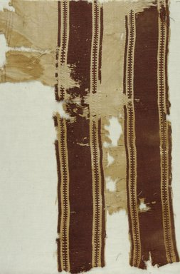 Coptic. <em>Fragment with Band Decoration</em>, 5th-6th century C.E. Flax, wool, 21 x 13 3/4 in. (53.3 x 34.9 cm). Brooklyn Museum, Gift of the Long Island Historical Society, 26.739. Creative Commons-BY (Photo: Brooklyn Museum (in collaboration with Index of Christian Art, Princeton University), CUR.26.739_ICA.jpg)