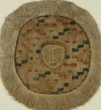 Coptic. <em>Roundel with Figural and Geometric Decoration</em>, 4th-5th century C.E., and later. Flax, wool, 21 x 19 1/2 in. (53.3 x 49.5 cm). Brooklyn Museum, Gift of the Long Island Historical Society, 26.753. Creative Commons-BY (Photo: Brooklyn Museum (in collaboration with Index of Christian Art, Princeton University), CUR.26.753F_ICA.jpg)