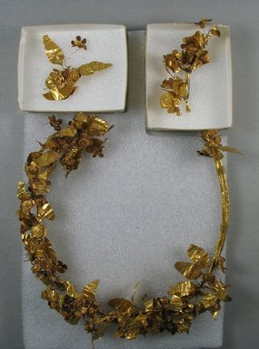 Greek. <em>Wreath</em>, 3rd century-2nd century B.C.E. Gold, 3 15/16 x 10 1/4 x 11 13/16 in. (10 x 26 x 30 cm). Brooklyn Museum, Gift of George D. Pratt, 26.763. Creative Commons-BY (Photo: Brooklyn Museum, CUR.26.763.jpg)