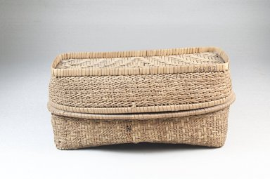 <em>Oblong Basket</em>. Vegetal fiber, cane, raffia, 4 x 2 1/2 in. (10.2 x 6.4 cm). Brooklyn Museum, 26482. Creative Commons-BY (Photo: Brooklyn Museum, CUR.26482_assembled_PS5.jpg)