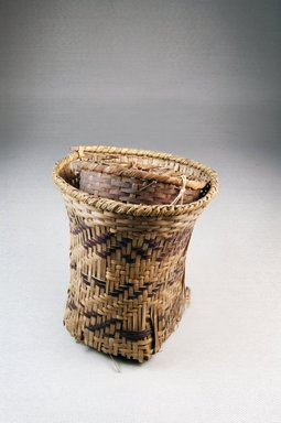 <em>Cup Shaped Basket</em>. Vegetal fiber, 5 x 4 1/4 in. (12.7 x 10.8 cm). Brooklyn Museum, 26486. Creative Commons-BY (Photo: Brooklyn Museum, CUR.26486_front_PS5.jpg)