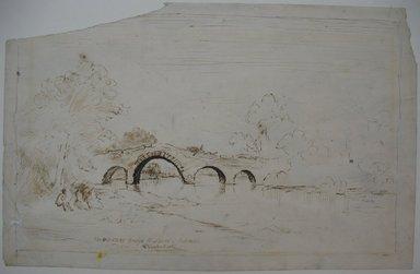 Ralph Albert Blakelock (American, 1847-1919). <em>Old Stone Bridge at Leeds, Catskill</em>, n.d. Pen and sepia ink on paper, Sheet (irregular): 6 5/16 x 10 in. (16 x 25.4 cm). Brooklyn Museum, Gift of Mr. and Mrs. E. Le Grand Beers in memory of Edwin Beers, 27.11 (Photo: Brooklyn Museum, CUR.27.11.jpg)