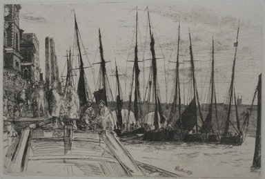 James Abbott McNeill Whistler (American, 1834-1903). <em>Billingsgate</em>, 1859. Etching on paper, Image: 5 15/16 x 8 7/8 in. (15.1 x 22.5 cm). Brooklyn Museum, Gift of F. Ethel Wickham, 27.124 (Photo: Brooklyn Museum, CUR.27.124.jpg)