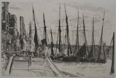 James Abbott McNeill Whistler (American, 1834-1903). <em>Billingsgate</em>, 1859. Etching on paper, Image: 5 15/16 x 8 7/8 in. (15.1 x 22.5 cm). Brooklyn Museum, Gift of F. Ethel Wickham, 27.124 (Photo: Brooklyn Museum, CUR.27.124.jpg)