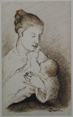 Ralph Albert Blakelock (American, 1847-1919). <em>Mother and Child</em>, ca. 1871. Pen and sepia ink on back of business card, Sheet: 4 7/8 x 3 in. (12.4 x 7.6 cm). Brooklyn Museum, Gift of Mr. and Mrs. E. Le Grand Beers in memory of Edwin Beers, 27.22 (Photo: Brooklyn Museum, CUR.27.22.jpg)