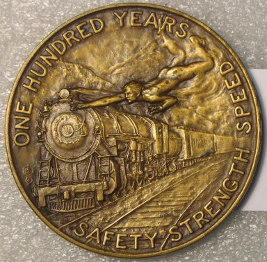 Hans Schuler Sr. (American, born Germany, 1874-1951). <em>Baltimore & Ohio Railroad Centenary Medal</em>, 1927. Bronze, 2 3/4 x 2 3/4 x 3/16 in. (7 x 7 x 0.5 cm). Brooklyn Museum, Gift of the Baltimore & Ohio Railroad, 27.354. Creative Commons-BY (Photo: Brooklyn Museum, CUR.27.354_back.jpg)