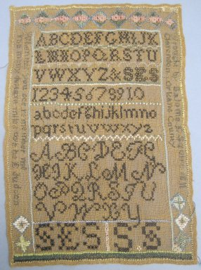 Salome E. Squire. <em>Sampler</em>, 1811. Linen, embroidery thread, 11 1/4 x 8 in. (28.6 x 20.3 cm). Brooklyn Museum, 27.438. Creative Commons-BY (Photo: Brooklyn Museum, CUR.27.438.jpg)
