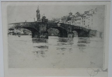 Joseph Pennell (American, 1860-1926). <em>Ponte San Trinita, Florence</em>, 1883. Etching, Sheet: 11 x 15 3/4 in. (27.9 x 40 cm). Brooklyn Museum, 27.955 (Photo: Brooklyn Museum, CUR.27.955.jpg)