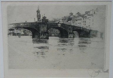 Joseph Pennell (American, 1860-1926). <em>Ponte San Trinita, Florence</em>, 1883. Etching, Sheet: 11 x 15 3/4 in. (27.9 x 40 cm). Brooklyn Museum, 27.955 (Photo: Brooklyn Museum, CUR.27.955.jpg)
