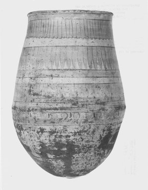 <em>Large Jar</em>, ca. 1352-1336 B.C.E. Clay, pigment, 13 3/8 x Diam. of rim 9 1/8 in. (34 x 23.2 cm). Brooklyn Museum, Gift of the Egypt Exploration Society, 27.958. Creative Commons-BY (Photo: Brooklyn Museum, CUR.27.958_NegA_print_bw.jpg)