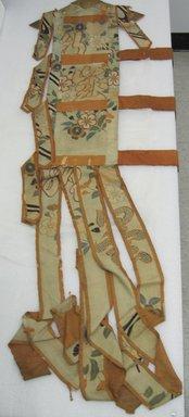 <em>Temple Hangings</em>, mid-18th century. Silk, Each: 11 7/16 x 66 15/16 in. (29 x 170 cm). Brooklyn Museum, Bequest of Ellen S. Bates, 28.116. Creative Commons-BY (Photo: Brooklyn Museum, CUR.28.116.jpg)