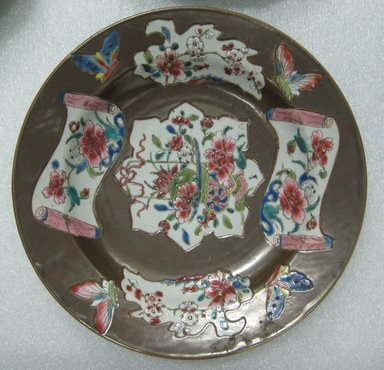 <em>Plate</em>, ca. 1740-1750. Porcelain, 8 3/4 in. (22.2 cm). Brooklyn Museum, Brooklyn Museum Collection, 28.168.5. Creative Commons-BY (Photo: Brooklyn Museum, CUR.28.168.5_top.jpg)