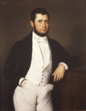 Jacques Amans (1801-1888, active in America 1836-1856). <em>Portrait of an Unknown Man</em>, 1845. Oil on canvas, 37 1/2 x 29 15/16 in. (95.2 x 76 cm). Brooklyn Museum, Museum Collection Fund, 28.208 (Photo: Brooklyn Museum, CUR.28.208.jpg)