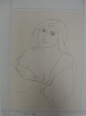 Walt Kuhn (American, 1877-1949). <em>Rhoda</em>, n.d. Lithograph on white wove paper, stone: 14 3/8 x 10 3/16 in. (36.5 x 25.9 cm). Brooklyn Museum, Gift of Dr. William H. Fox, 28.21. © artist or artist's estate (Photo: Brooklyn Museum, CUR.28.21.jpg)