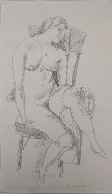 Walt Kuhn (American, 1877-1949). <em>Hulda</em>, n.d. Lithograph on wove paper, Sheet: 20 7/16 x 11 15/16 in. (51.9 x 30.3 cm). Brooklyn Museum, Gift of Dr. William H. Fox, 28.33. © artist or artist's estate (Photo: Brooklyn Museum, CUR.28.33.jpg)