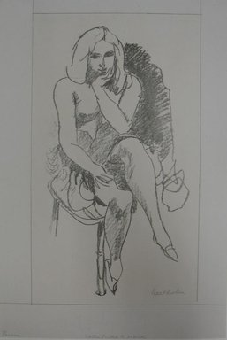Walt Kuhn (American, 1877-1949). <em>Pensive</em>, n.d. Lithograph on paper, Sheet: 18 9/16 x 12 5/8 in. (47.1 x 32.1 cm). Brooklyn Museum, Gift of Dr. William H. Fox, 28.762. © artist or artist's estate (Photo: Brooklyn Museum, CUR.28.762.jpg)
