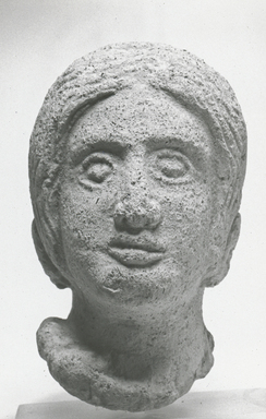 Roman. <em>Head of Woman</em>. Clay Brooklyn Museum, Gift of the Long Island Historical Society, 28.766. Creative Commons-BY (Photo: Brooklyn Museum, CUR.28.766_NegA_print_bw.jpg)