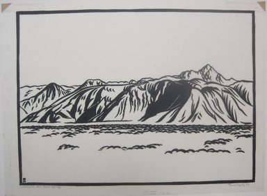 Franz Geritz (American, 1895-1945). <em>Cathedral Mountains, Palm Springs</em>, 1929. Linocut on Japanese tissue paper, 8 11/16 x 11 13/16 in. (22 x 30 cm). Brooklyn Museum, Frank Sherman Benson Fund, 29.1271 (Photo: Brooklyn Museum, CUR.29.1271.jpg)