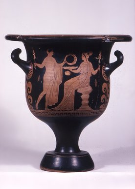 Greek. <em>Red-Figure Bell Krater</em>, 3rd quarter of 4th century B.C.E. Clay, slip, 12 7/8 x Diam. of lip 12 3/8 in. (32.7 x 31.4 cm). Brooklyn Museum, Gift of Mrs. Edwin W. Dubois, 29.1402. Creative Commons-BY (Photo: Brooklyn Museum, CUR.29.1402_view3.jpg)