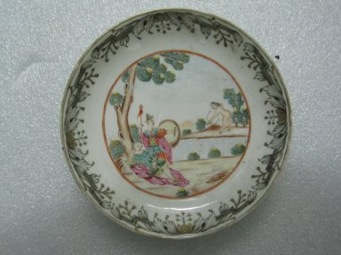 <em>Saucer</em>, 18th century. Porcelain, 3/4 x 4 3/4 in. (1.9 x 12.1 cm). Brooklyn Museum, Bequest of Samuel E. Haslett, 29.1460.1. Creative Commons-BY (Photo: Brooklyn Museum, CUR.29.1460.1_top.jpg)
