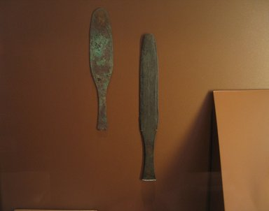 <em>Knife</em>, ca. 1539-1292 B.C.E. Bronze alloy, 1 5/8 x 5/16 x 13 1/4 in. (4.1 x 0.8 x 33.7 cm) . Brooklyn Museum, Charles Edwin Wilbour Fund, 05.329. Creative Commons-BY (Photo: Brooklyn Museum, CUR.29.1557_05.329_erg456.jpg)