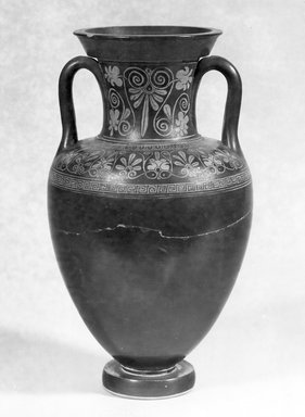 Floral Nolan Group. <em>Red-Figure Amphora</em>, ca. 480 B.C.E. Clay, pigment, 12 11/16 x Diam. 6 7/8 in. (32.3 x 17.5 cm). Brooklyn Museum, Gift of Bianca Olcott, 29.1. Creative Commons-BY (Photo: Brooklyn Museum, CUR.29.1_NegA_print_bw.jpg)