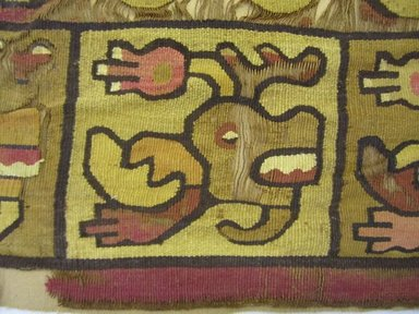 Nazca-Wari. <em>Tunic, Fragment</em>, 600-850. Camelid fiber, 14 X 15 3/8 in. (35.5 X 39.0 cm). Brooklyn Museum, Gift of George D. Pratt, 30.1211. Creative Commons-BY (Photo: Brooklyn Museum, CUR.30.1211_detail.jpg)