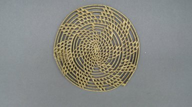 <em>Basketry Lid</em>, early 20th century. Reed, grass, diam.: 5 1/2 in. (14.0 cm). Brooklyn Museum, Gift of Lucy Addoms, 30.1249. Creative Commons-BY (Photo: Brooklyn Museum, CUR.30.1249.jpg)