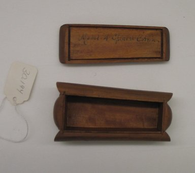 <em>Model Coffin</em>. Wood, 1 9/16 x 4 1/8 x 2 1/8 in.  (4.0 x 10.5 x 5.4 cm). Brooklyn Museum, Estate of Stewart Culin, Museum Purchase, 30.194. Creative Commons-BY (Photo: Brooklyn Museum, CUR.30.194.jpg)