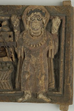 Coptic. <em>Door with Figure of a Saint</em>, 7th century C.E. or 10th-11th century C.E. Wood, iron, pigment, 6 13/16 x 5 13/16 x 3/4 in. (17.4 x 14.8 x 2 cm). Brooklyn Museum, Gift of Ruth Tishner Costantino, 30.28. Creative Commons-BY (Photo: Brooklyn Museum (in collaboration with Index of Christian Art, Princeton University), CUR.30.28_detail01_ICA.jpg)